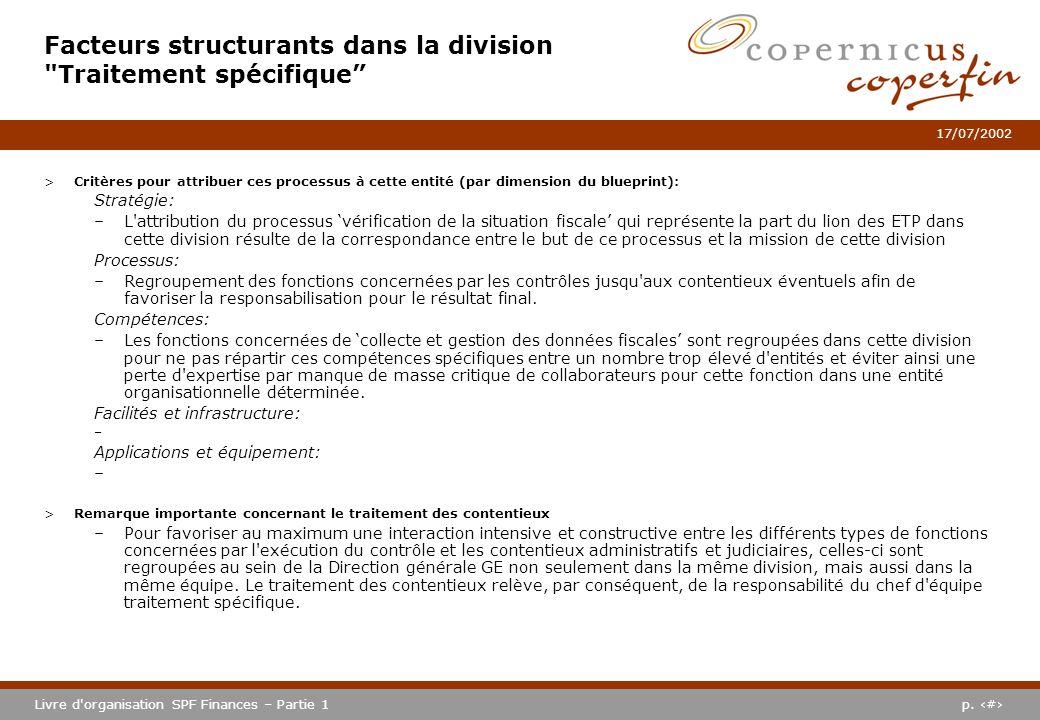 p. #Livre d'organisation SPF Finances – Partie 1 17/07/2002 >Critères pour attribuer ces processus à cette entité (par dimension du blueprint): Straté