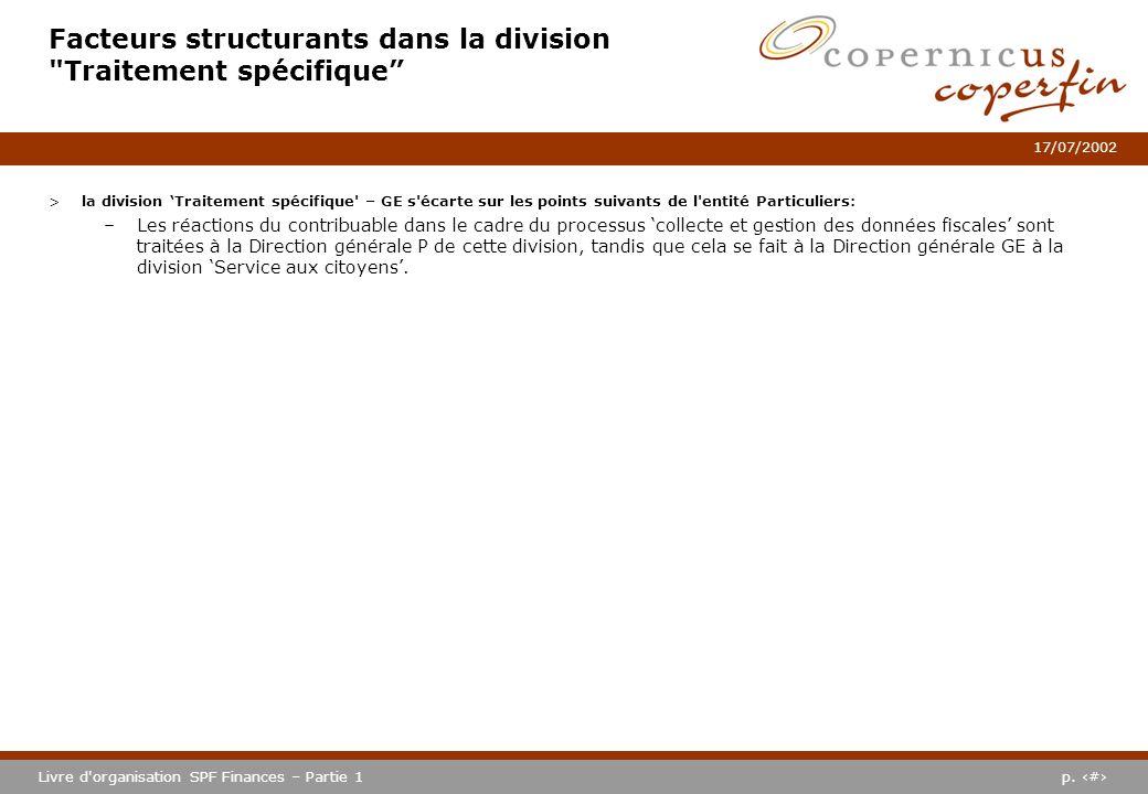 p. #Livre d'organisation SPF Finances – Partie 1 17/07/2002 Facteurs structurants dans la division