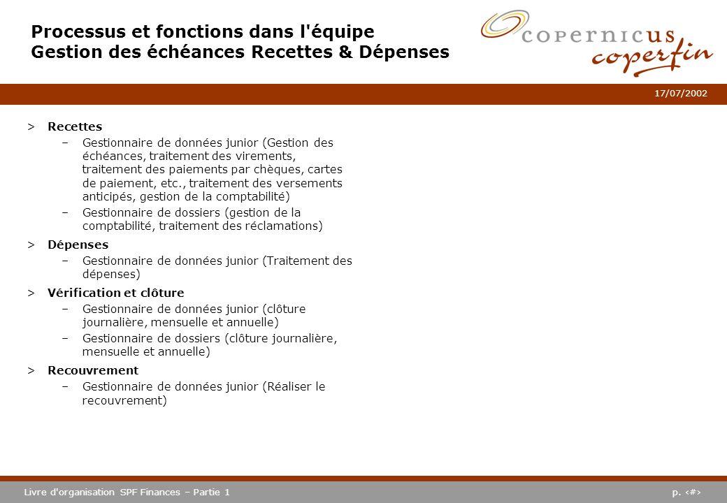 p. #Livre d'organisation SPF Finances – Partie 1 17/07/2002 Processus et fonctions dans l'équipe Gestion des échéances Recettes & Dépenses >Recettes –