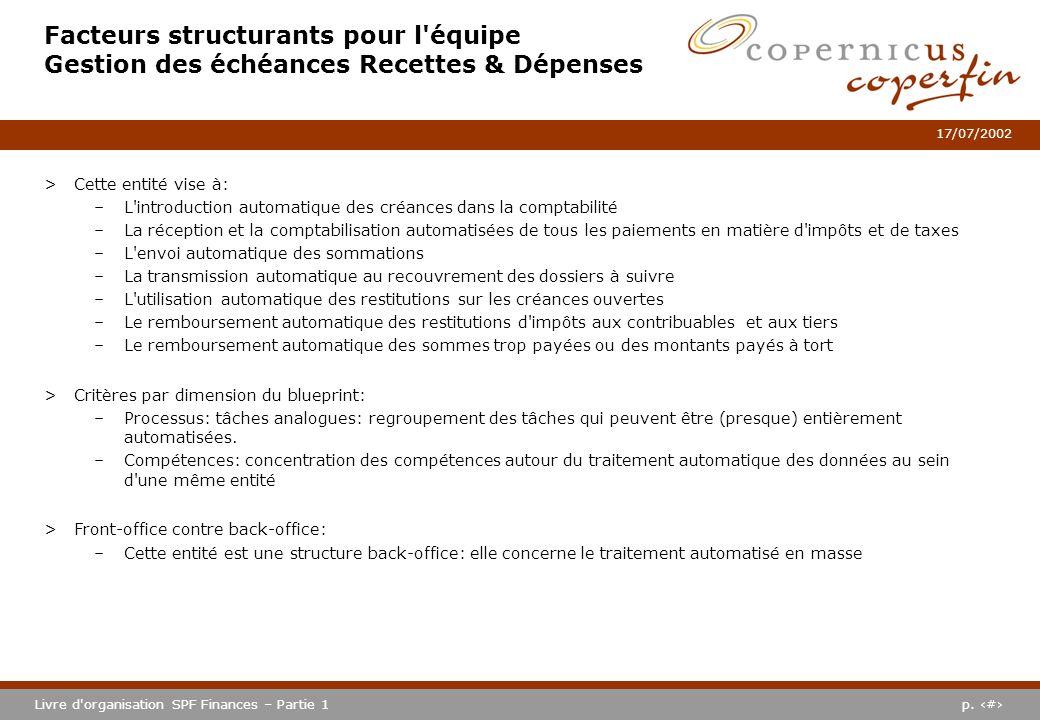 p. #Livre d'organisation SPF Finances – Partie 1 17/07/2002 Facteurs structurants pour l'équipe Gestion des échéances Recettes & Dépenses >Cette entit
