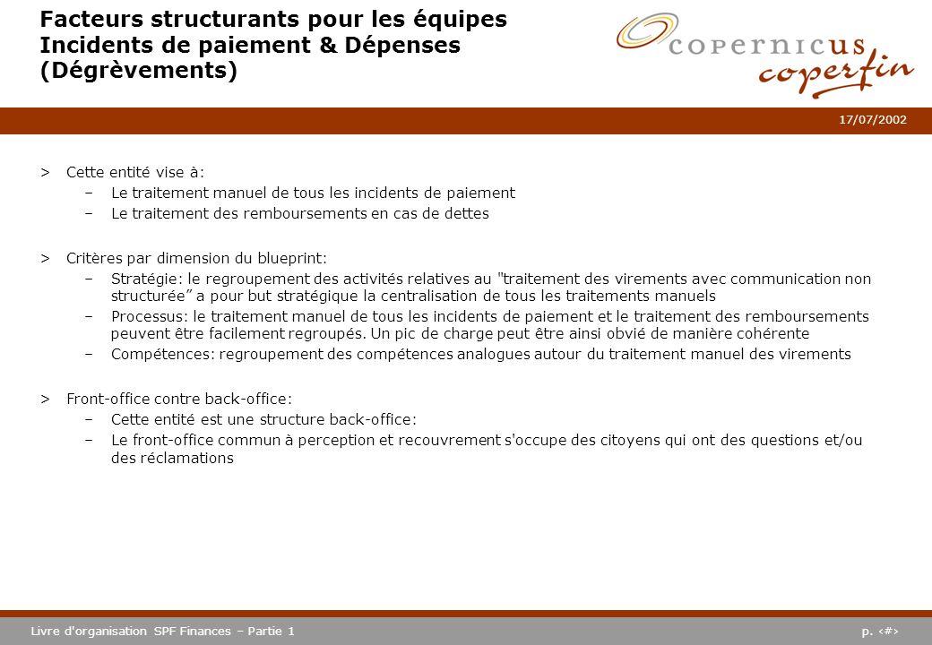 p. #Livre d'organisation SPF Finances – Partie 1 17/07/2002 Facteurs structurants pour les équipes Incidents de paiement & Dépenses (Dégrèvements) >Ce