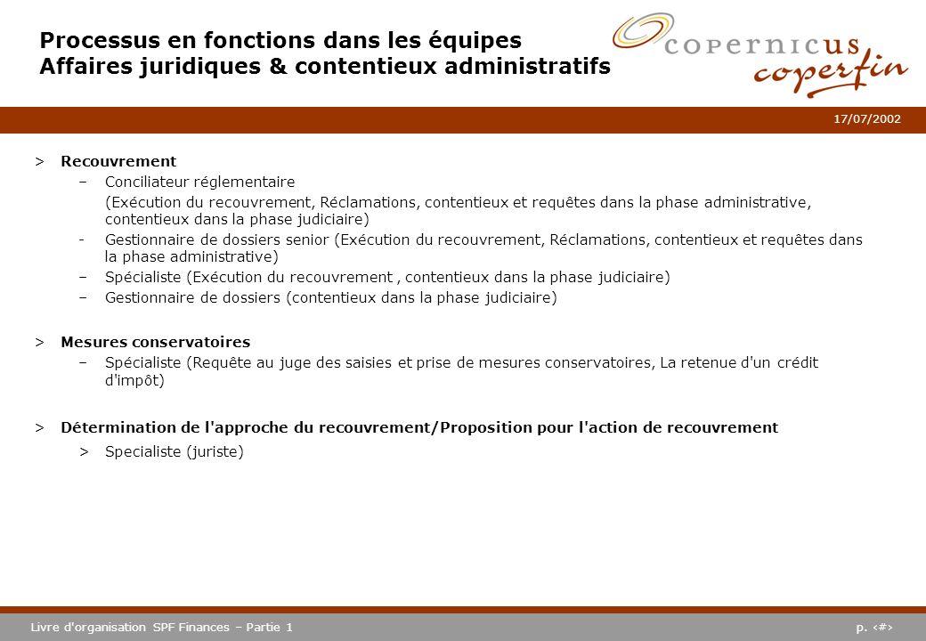 p. #Livre d'organisation SPF Finances – Partie 1 17/07/2002 Processus en fonctions dans les équipes Affaires juridiques & contentieux administratifs >