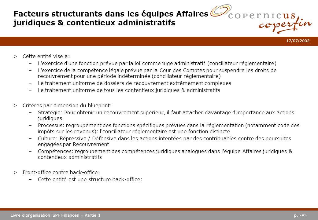p. #Livre d'organisation SPF Finances – Partie 1 17/07/2002 Facteurs structurants dans les équipes Affaires juridiques & contentieux administratifs >C