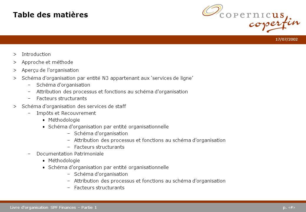 p. #Livre d'organisation SPF Finances – Partie 1 17/07/2002 Table des matières >Introduction >Approche et méthode >Aperçu de l'organisation >Schéma d'