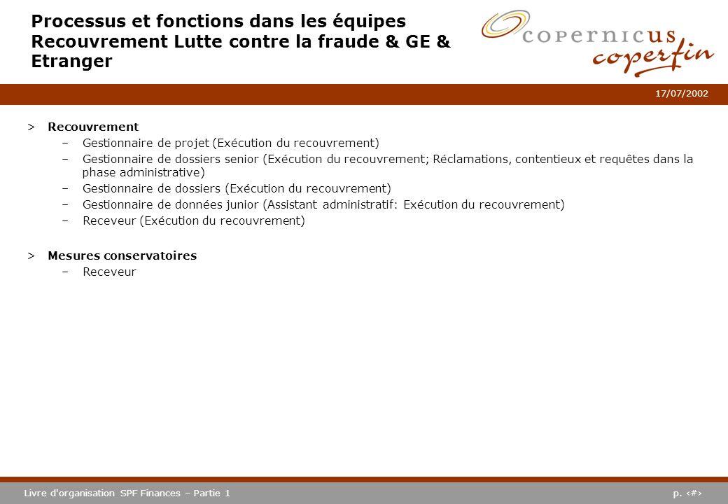 p. #Livre d'organisation SPF Finances – Partie 1 17/07/2002 Processus et fonctions dans les équipes Recouvrement Lutte contre la fraude & GE & Etrange