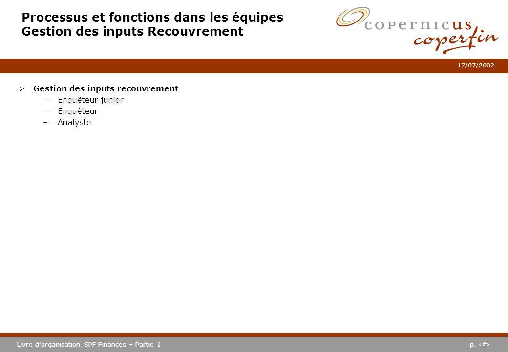 p. #Livre d'organisation SPF Finances – Partie 1 17/07/2002 Processus et fonctions dans les équipes Gestion des inputs Recouvrement >Gestion des input