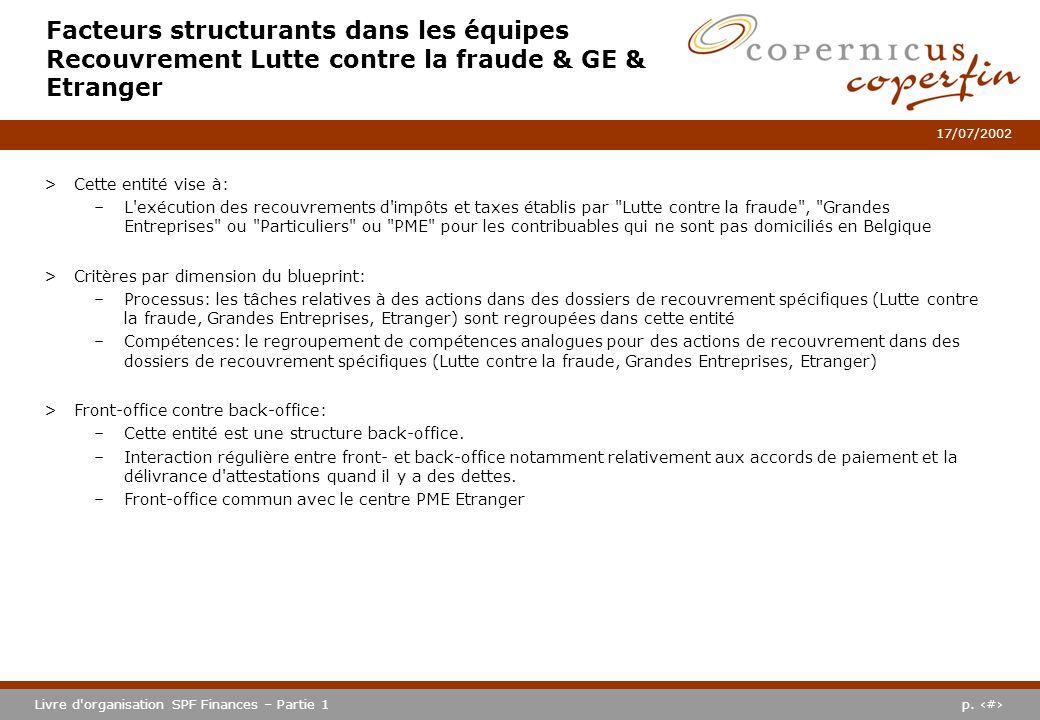 p. #Livre d'organisation SPF Finances – Partie 1 17/07/2002 Facteurs structurants dans les équipes Recouvrement Lutte contre la fraude & GE & Etranger
