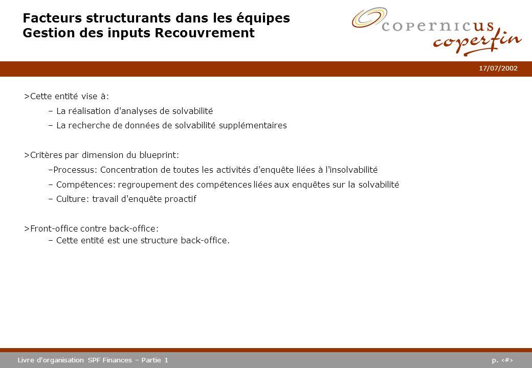 p. #Livre d'organisation SPF Finances – Partie 1 17/07/2002 Facteurs structurants dans les équipes Gestion des inputs Recouvrement >Cette entité vise