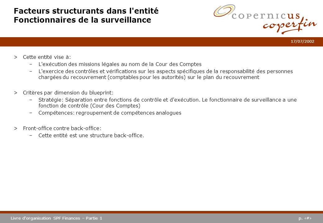p. #Livre d'organisation SPF Finances – Partie 1 17/07/2002 Facteurs structurants dans l'entité Fonctionnaires de la surveillance >Cette entité vise à