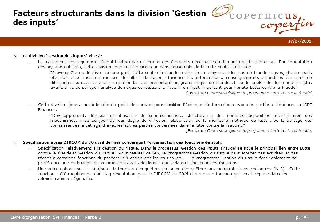 p. #Livre d'organisation SPF Finances – Partie 1 17/07/2002 Facteurs structurants dans la division Gestion des inputs >La division 'Gestion des inputs