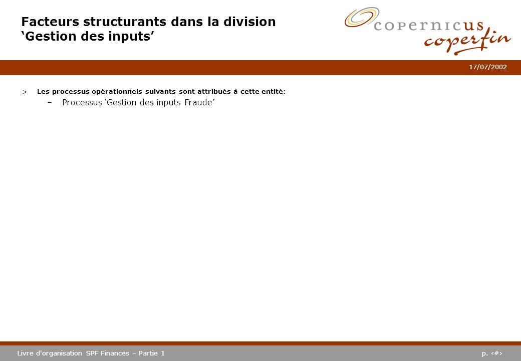 p. #Livre d'organisation SPF Finances – Partie 1 17/07/2002 Facteurs structurants dans la division Gestion des inputs >Les processus opérationnels sui