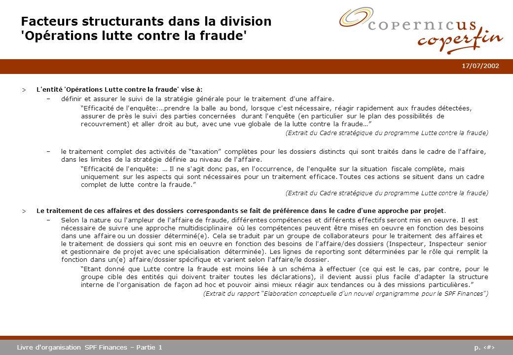 p. #Livre d'organisation SPF Finances – Partie 1 17/07/2002 Facteurs structurants dans la division 'Opérations lutte contre la fraude' >L'entité 'Opér