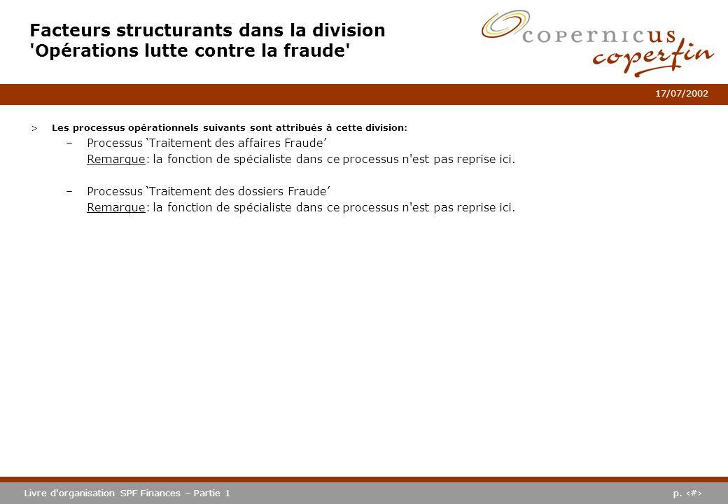 p. #Livre d'organisation SPF Finances – Partie 1 17/07/2002 Facteurs structurants dans la division 'Opérations lutte contre la fraude' >Les processus