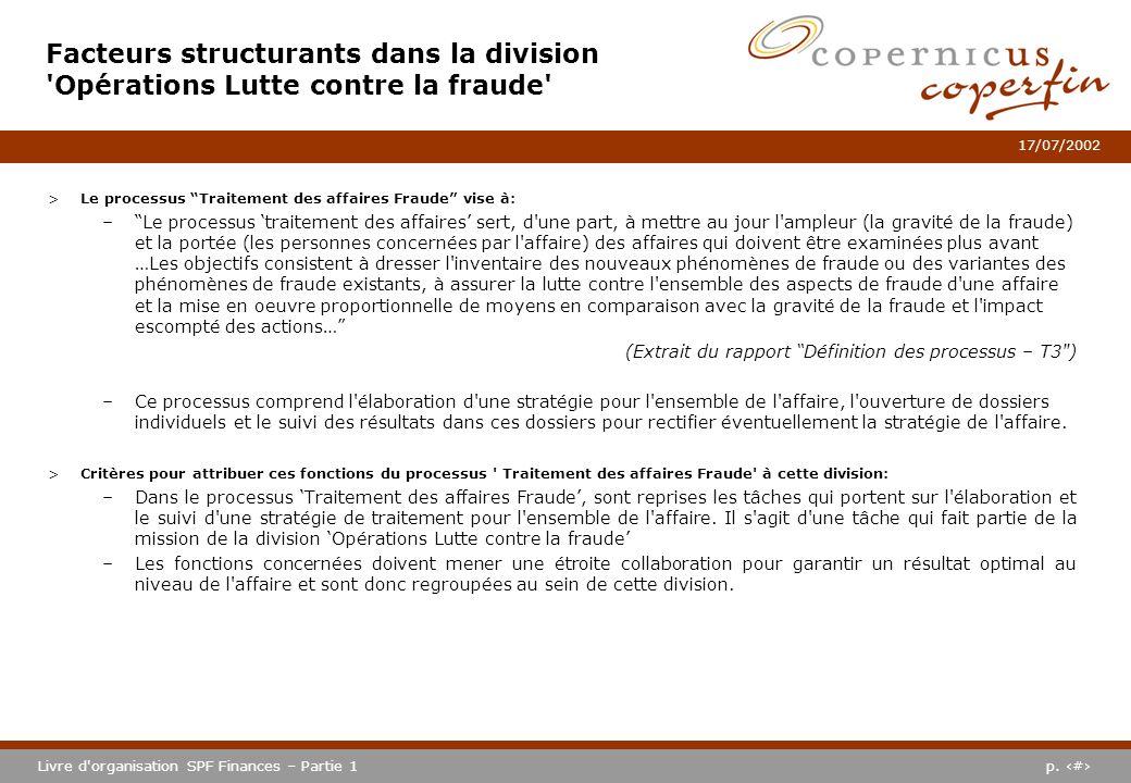p. #Livre d'organisation SPF Finances – Partie 1 17/07/2002 Facteurs structurants dans la division 'Opérations Lutte contre la fraude' >Le processus T
