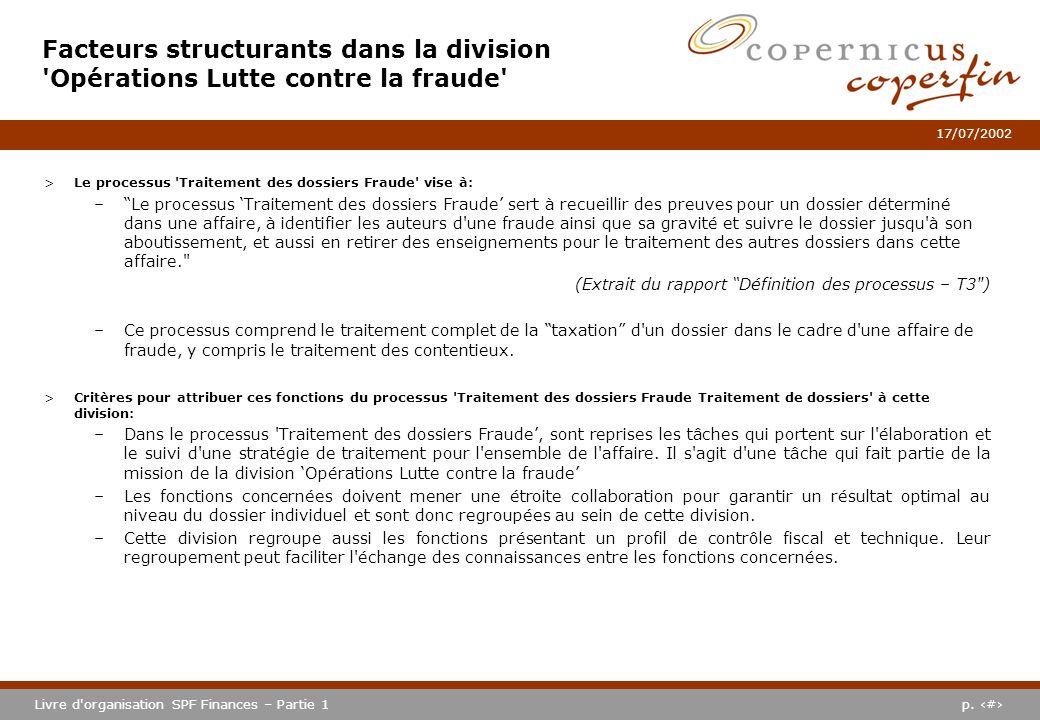 p. #Livre d'organisation SPF Finances – Partie 1 17/07/2002 Facteurs structurants dans la division 'Opérations Lutte contre la fraude' >Le processus '