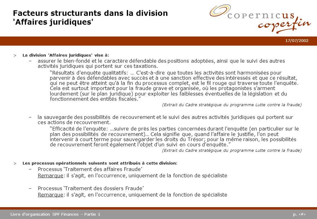 p. #Livre d'organisation SPF Finances – Partie 1 17/07/2002 Facteurs structurants dans la division 'Affaires juridiques' >La division 'Affaires juridi