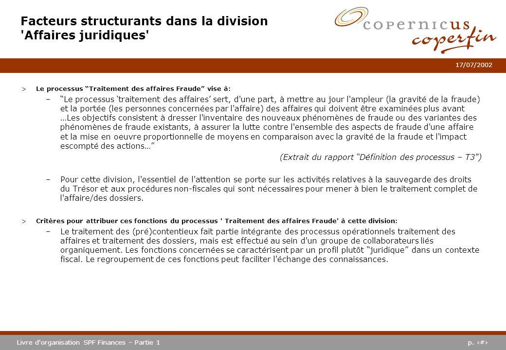 p. #Livre d'organisation SPF Finances – Partie 1 17/07/2002 >Le processus Traitement des affaires Fraude vise à: –Le processus traitement des affaires