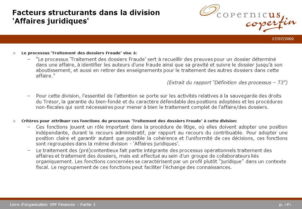 p. #Livre d'organisation SPF Finances – Partie 1 17/07/2002 >Le processus 'Traitement des dossiers Fraude' vise à: –Le processus Traitement des dossie