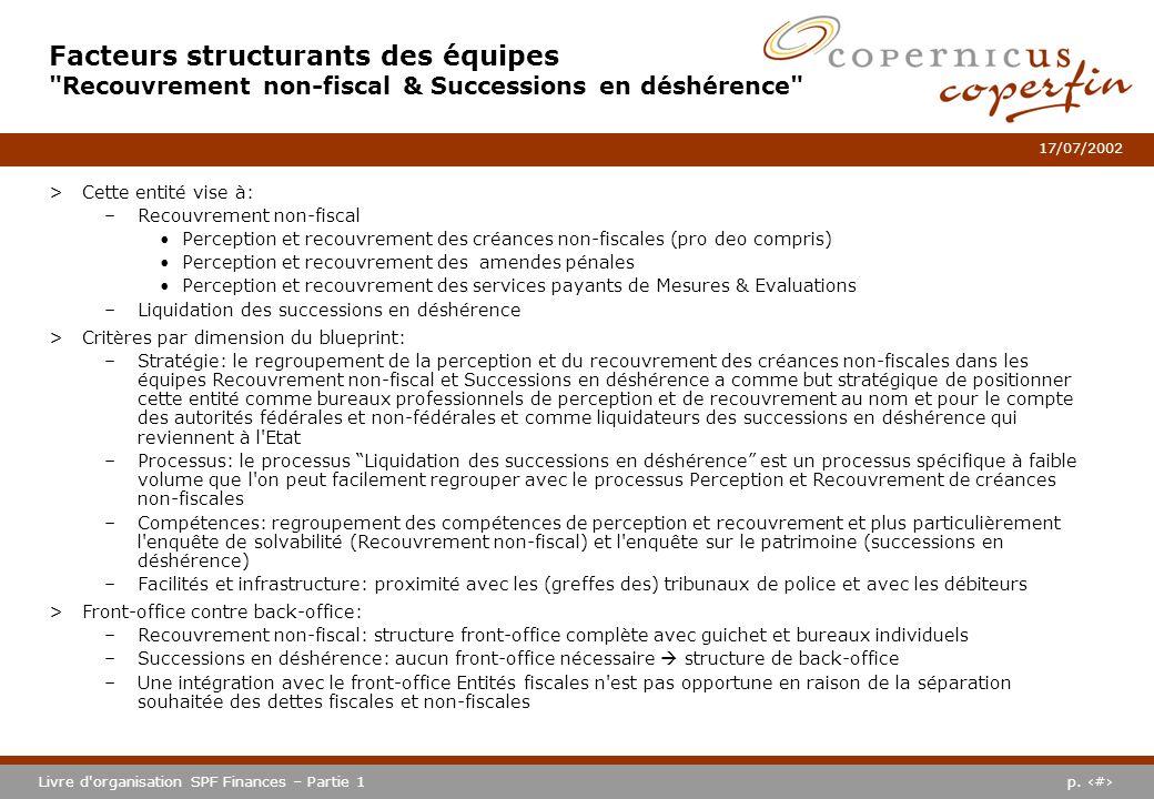 p. #Livre d'organisation SPF Finances – Partie 1 17/07/2002 >Cette entité vise à: –Recouvrement non-fiscal Perception et recouvrement des créances non