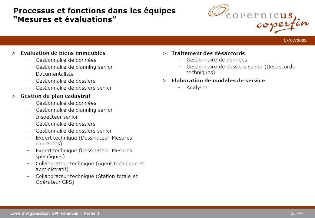 p. #Livre d'organisation SPF Finances – Partie 1 17/07/2002 >Evaluation de biens immeubles –Gestionnaire de données –Gestionnaire de planning senior –