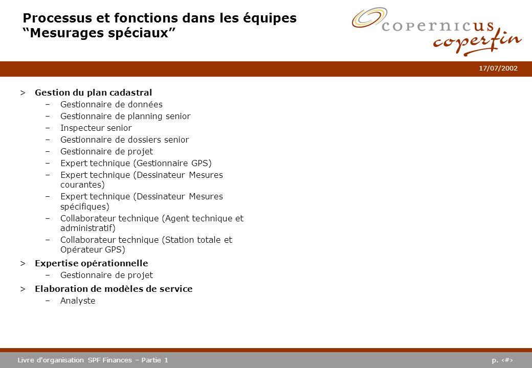 p. #Livre d'organisation SPF Finances – Partie 1 17/07/2002 Processus et fonctions dans les équipes Mesurages spéciaux >Gestion du plan cadastral –Ges
