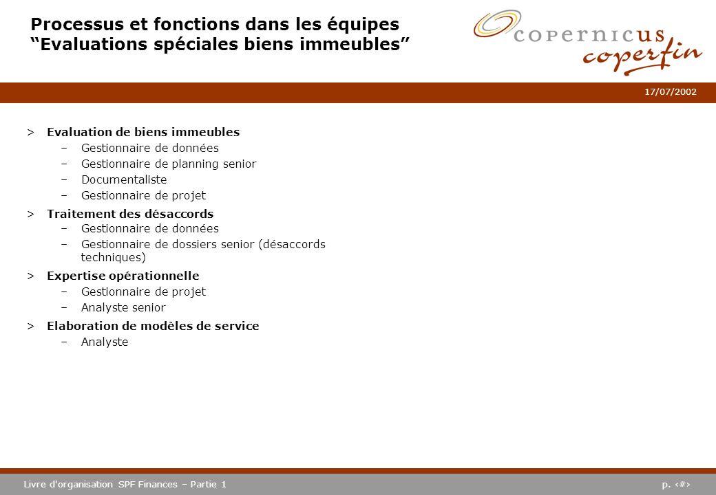 p. #Livre d'organisation SPF Finances – Partie 1 17/07/2002 Processus et fonctions dans les équipes Evaluations spéciales biens immeubles >Evaluation