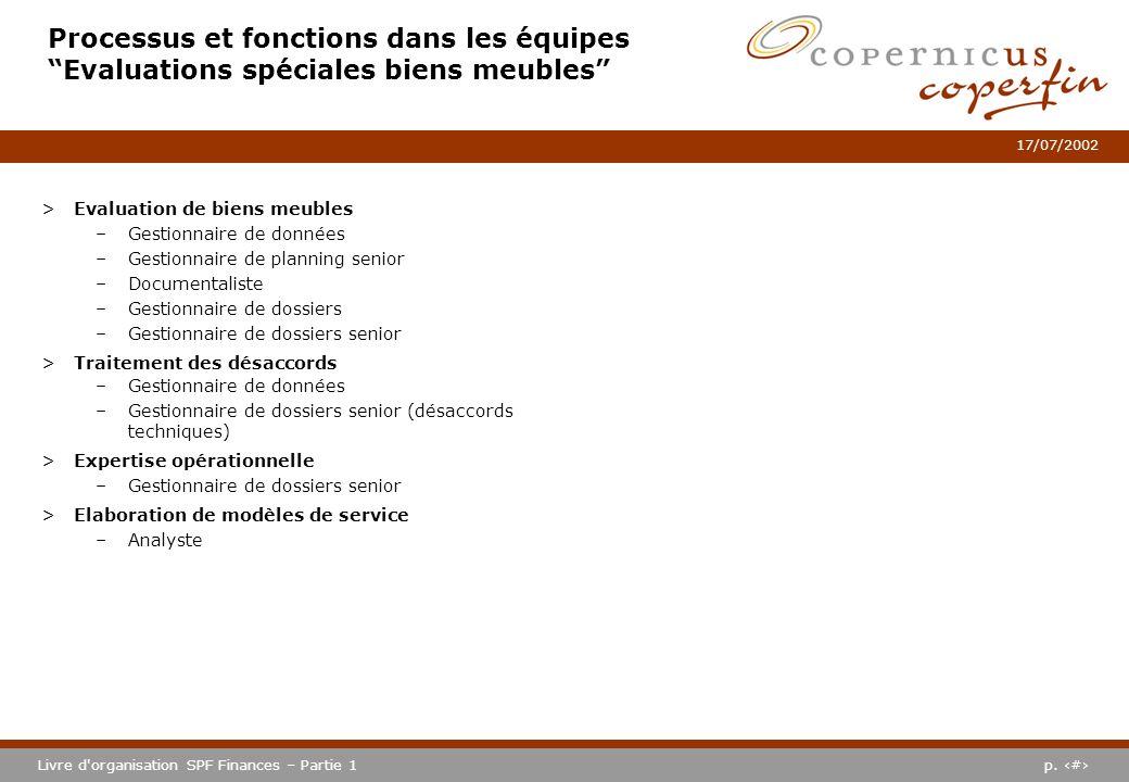 p. #Livre d'organisation SPF Finances – Partie 1 17/07/2002 Processus et fonctions dans les équipes Evaluations spéciales biens meubles >Evaluation de