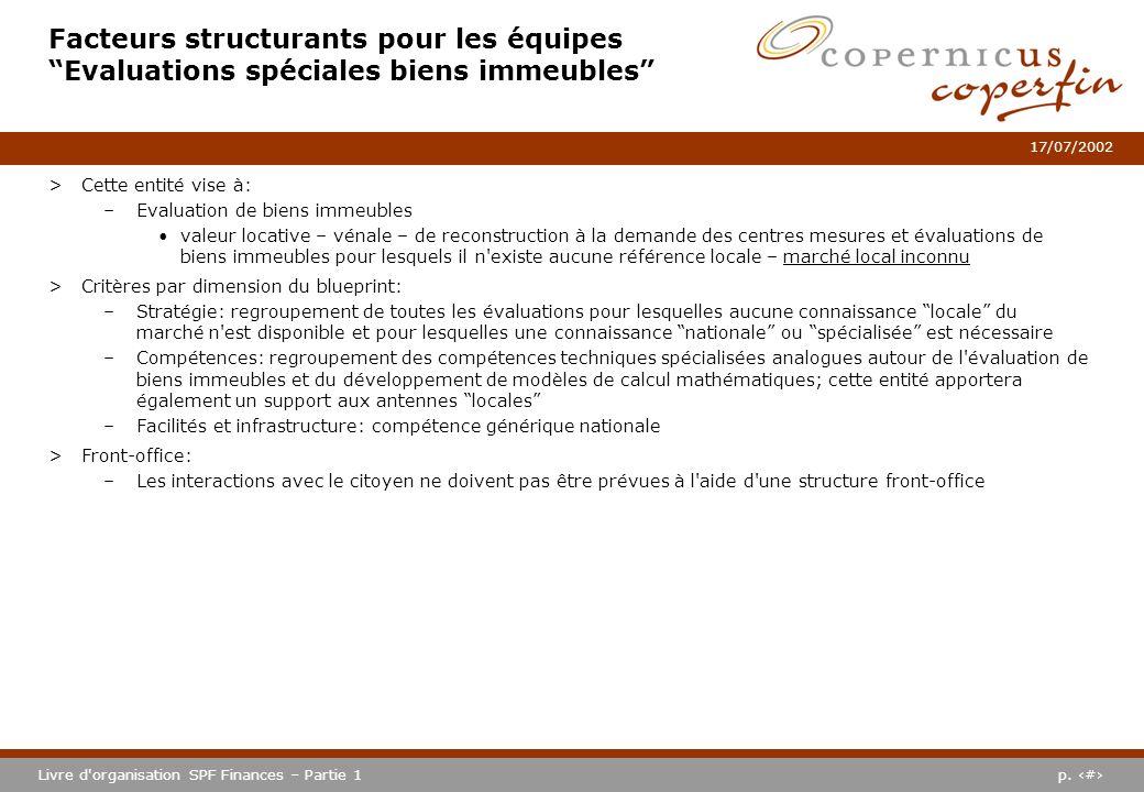 p. #Livre d'organisation SPF Finances – Partie 1 17/07/2002 Facteurs structurants pour les équipes Evaluations spéciales biens immeubles >Cette entité