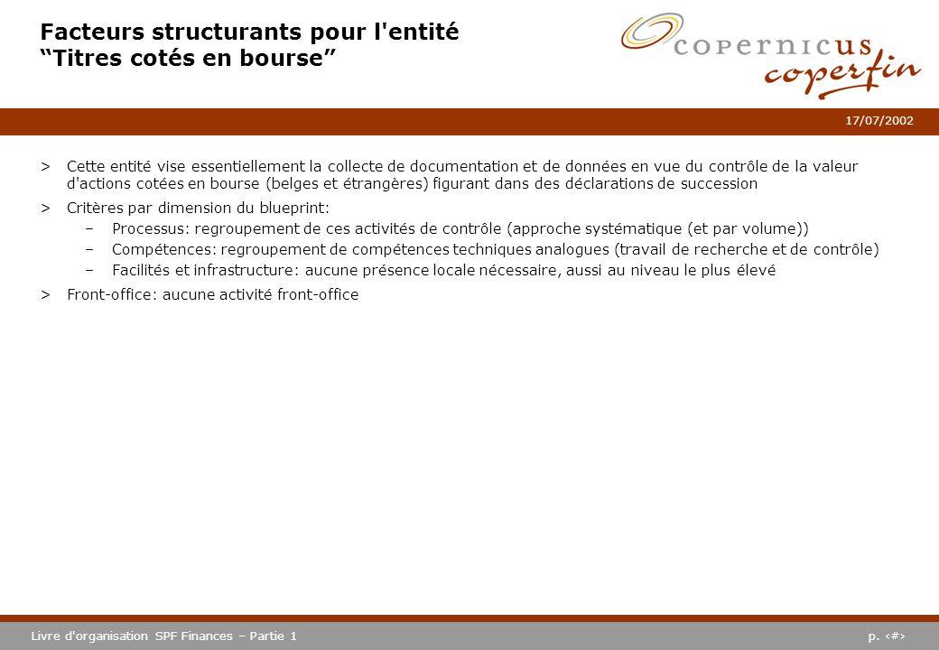 p. #Livre d'organisation SPF Finances – Partie 1 17/07/2002 Facteurs structurants pour l'entité Titres cotés en bourse >Cette entité vise essentiellem