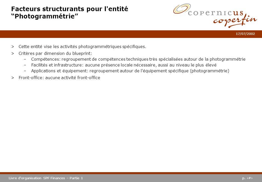 p. #Livre d'organisation SPF Finances – Partie 1 17/07/2002 Facteurs structurants pour l'entité Photogrammétrie >Cette entité vise les activités photo