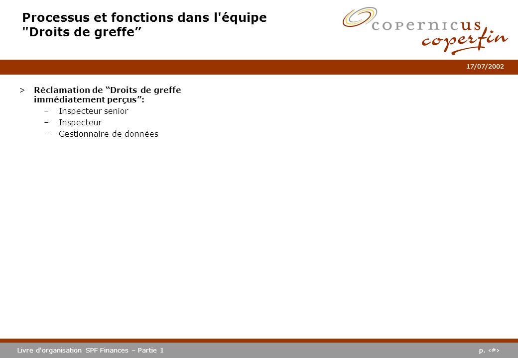 p. #Livre d'organisation SPF Finances – Partie 1 17/07/2002 Processus et fonctions dans l'équipe