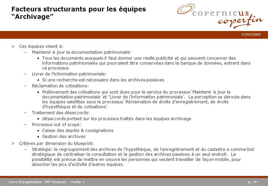 p. #Livre d'organisation SPF Finances – Partie 1 17/07/2002 Facteurs structurants pour les équipes Archivage >Ces équipes visent à: –Maintenir à jour