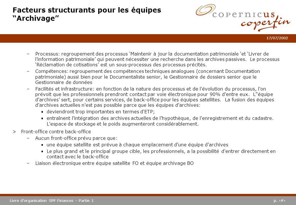 p. #Livre d'organisation SPF Finances – Partie 1 17/07/2002 Facteurs structurants pour les équipes Archivage –Processus: regroupement des processus Ma