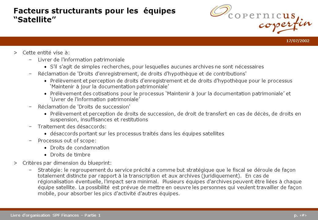 p. #Livre d'organisation SPF Finances – Partie 1 17/07/2002 Facteurs structurants pour les équipes Satellite >Cette entité vise à: –Livrer de l'inform