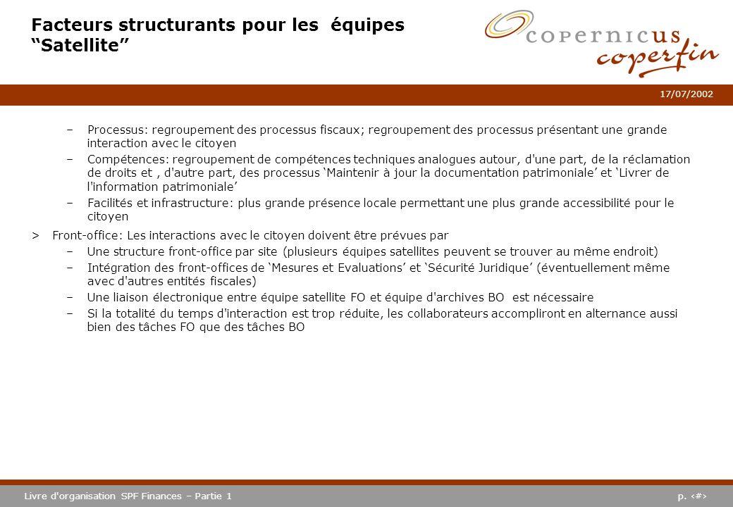 p. #Livre d'organisation SPF Finances – Partie 1 17/07/2002 Facteurs structurants pour les équipes Satellite –Processus: regroupement des processus fi