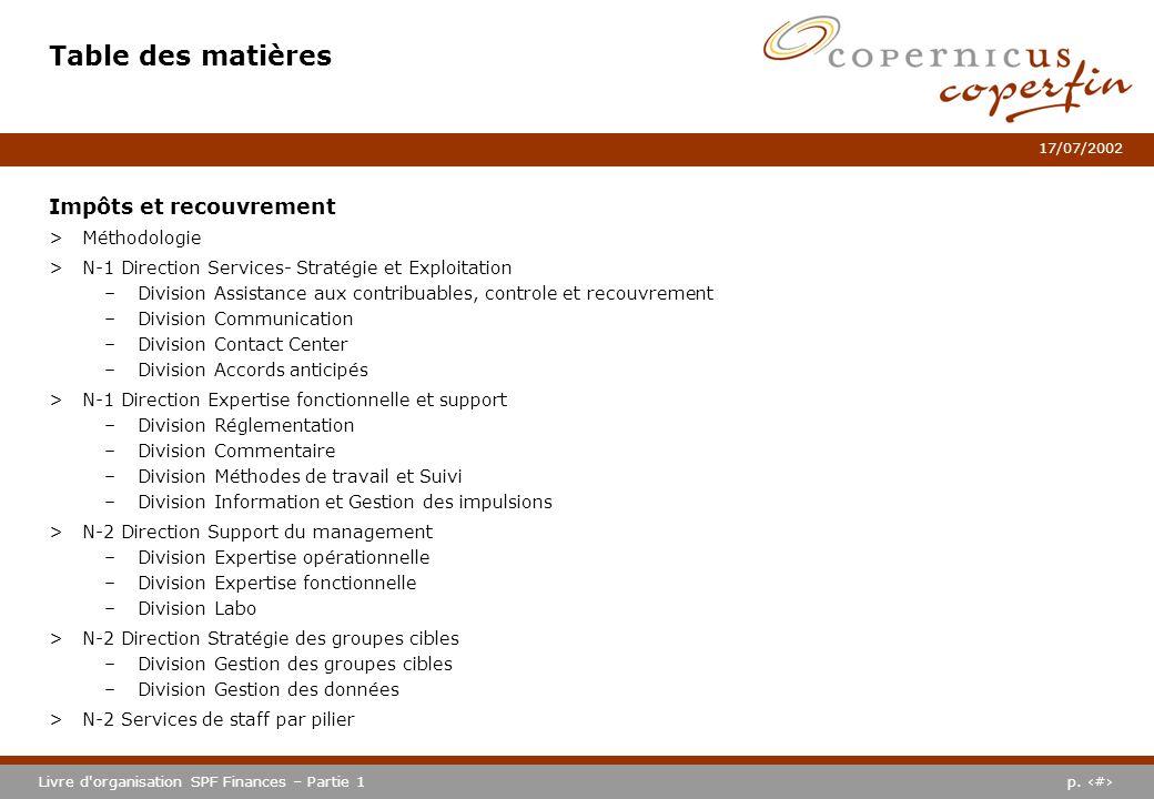 p. #Livre d'organisation SPF Finances – Partie 1 17/07/2002 Table des matières Impôts et recouvrement >Méthodologie >N-1 Direction Services- Stratégie