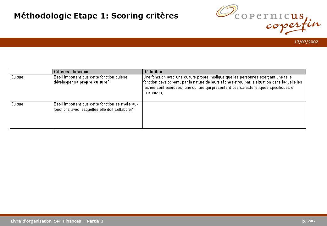 p. #Livre d'organisation SPF Finances – Partie 1 17/07/2002 Méthodologie Etape 1: Scoring critères