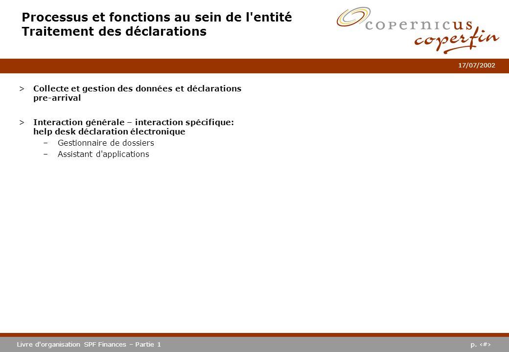 p. #Livre d'organisation SPF Finances – Partie 1 17/07/2002 Processus et fonctions au sein de l'entité Traitement des déclarations >Collecte et gestio