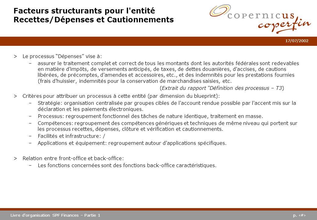 p. #Livre d'organisation SPF Finances – Partie 1 17/07/2002 Facteurs structurants pour l'entité Recettes/Dépenses et Cautionnements >Le processus Dépe