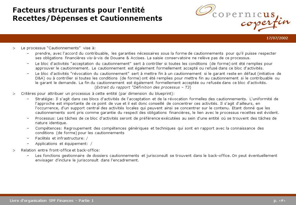 p. #Livre d'organisation SPF Finances – Partie 1 17/07/2002 Facteurs structurants pour l'entité Recettes/Dépenses et Cautionnements >Le processus Caut
