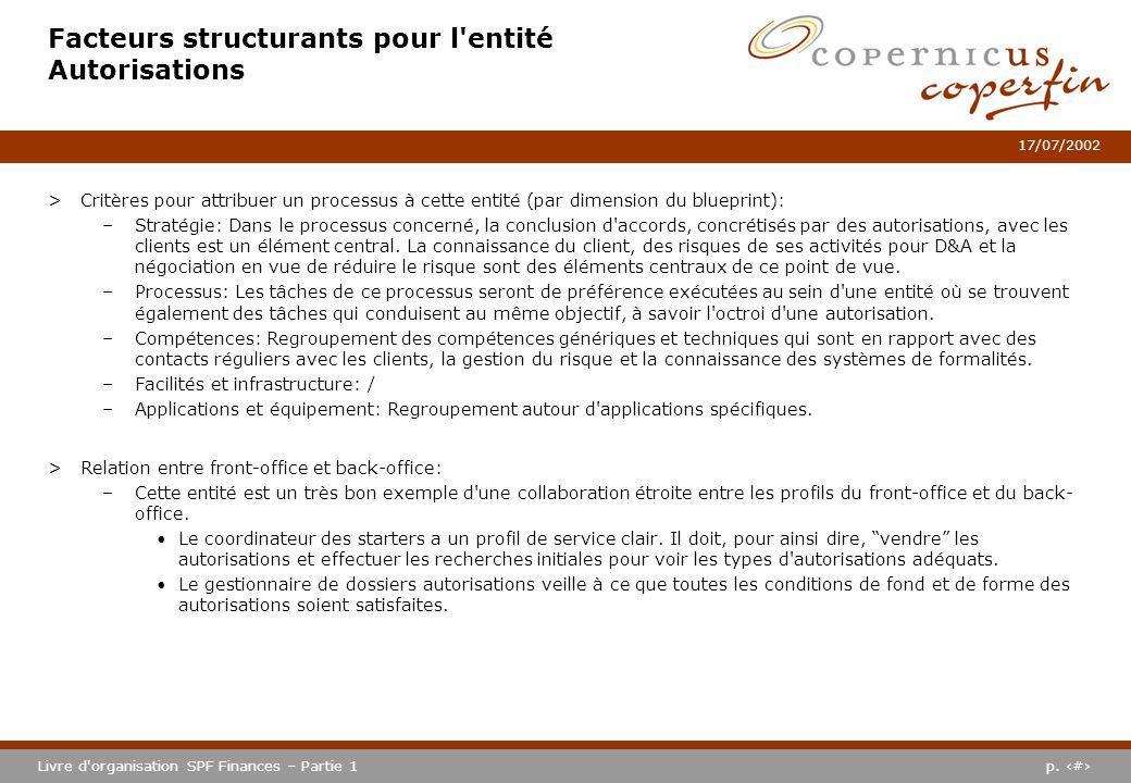p. #Livre d'organisation SPF Finances – Partie 1 17/07/2002 Facteurs structurants pour l'entité Autorisations >Critères pour attribuer un processus à