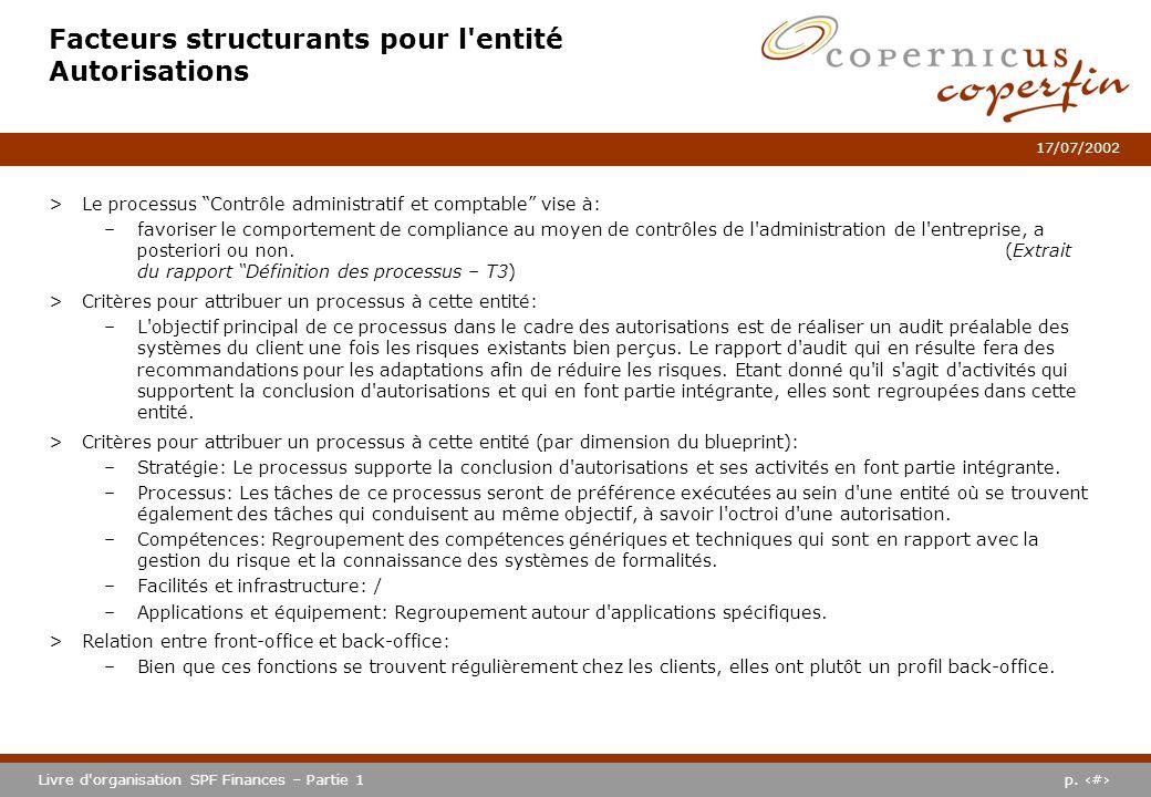 p. #Livre d'organisation SPF Finances – Partie 1 17/07/2002 Facteurs structurants pour l'entité Autorisations >Le processus Contrôle administratif et
