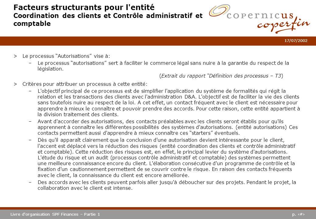 p. #Livre d'organisation SPF Finances – Partie 1 17/07/2002 Facteurs structurants pour l'entité Coordination des clients et Contrôle administratif et