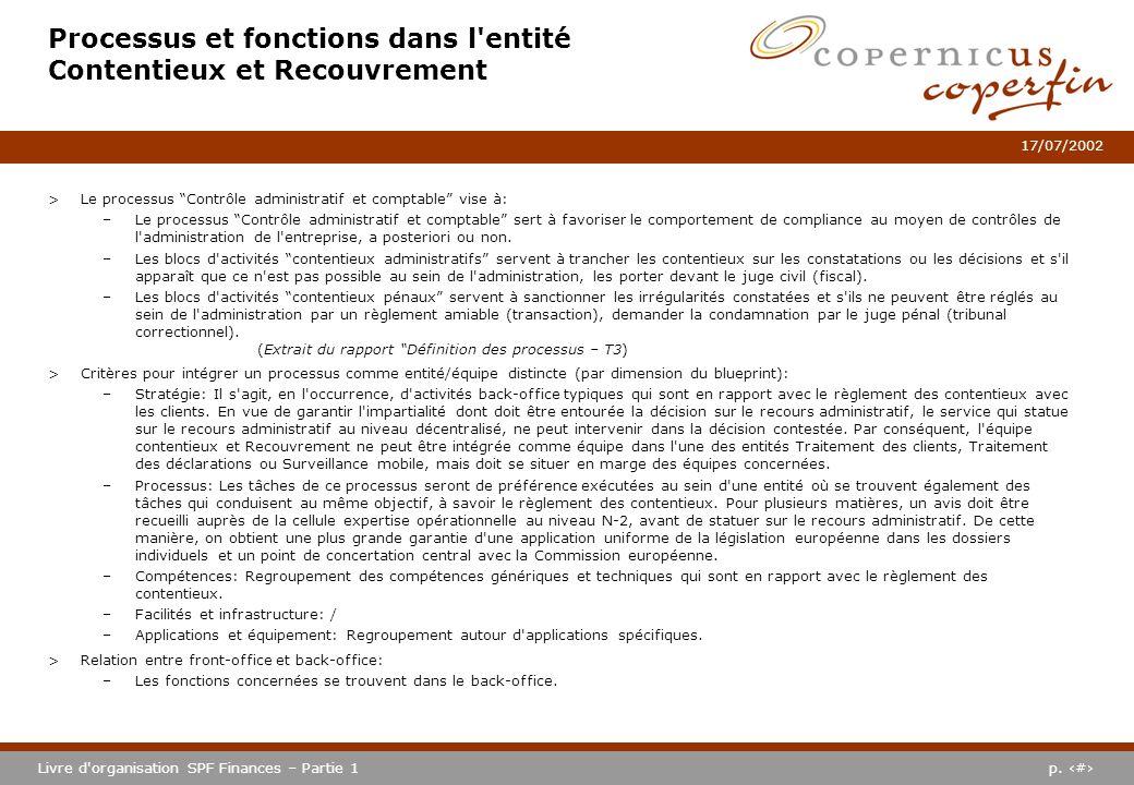 p. #Livre d'organisation SPF Finances – Partie 1 17/07/2002 Processus et fonctions dans l'entité Contentieux et Recouvrement >Le processus Contrôle ad