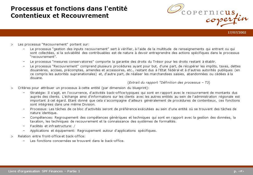 p. #Livre d'organisation SPF Finances – Partie 1 17/07/2002 Processus et fonctions dans l'entité Contentieux et Recouvrement >Les processus Recouvreme