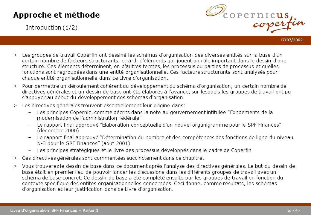 p. #Livre d'organisation SPF Finances – Partie 1 17/07/2002 Approche et méthode >Les groupes de travail Coperfin ont dessiné les schémas d'organisatio