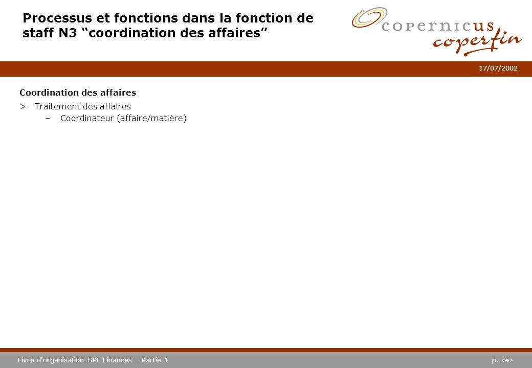p. #Livre d'organisation SPF Finances – Partie 1 17/07/2002 Processus et fonctions dans la fonction de staff N3 coordination des affaires Coordination