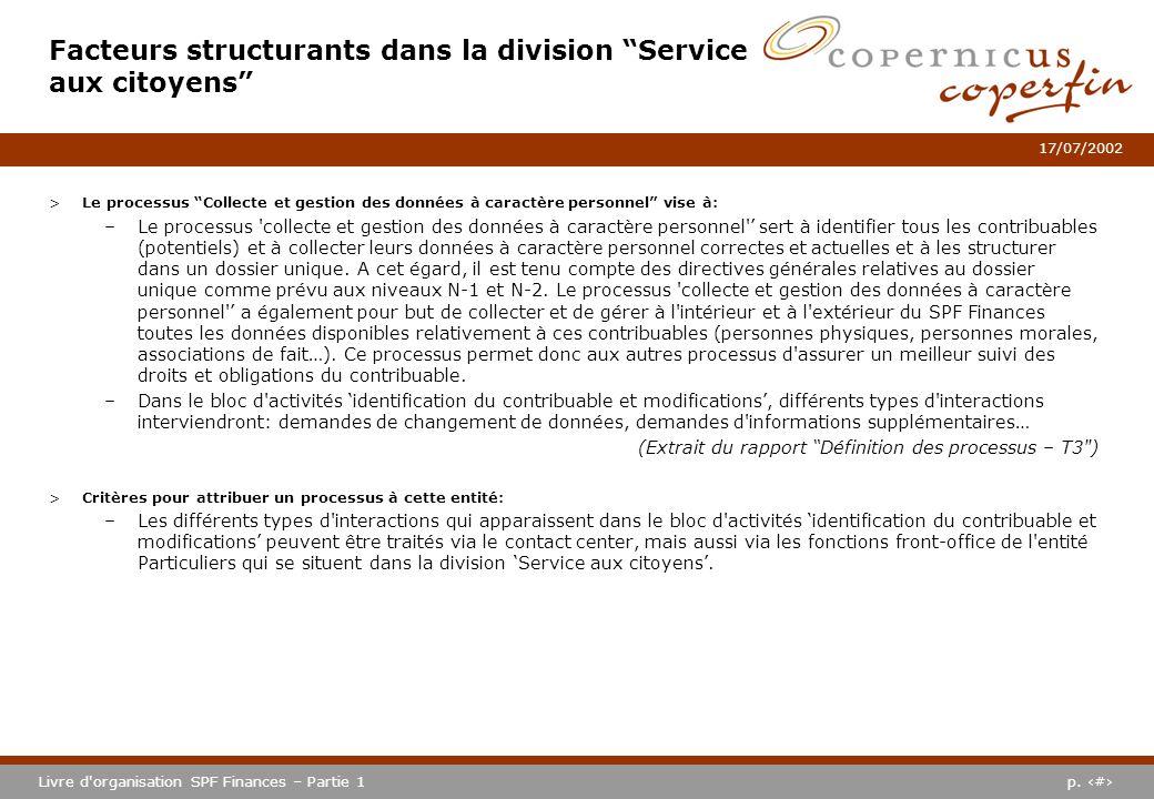 p. #Livre d'organisation SPF Finances – Partie 1 17/07/2002 >Le processus Collecte et gestion des données à caractère personnel vise à: –Le processus