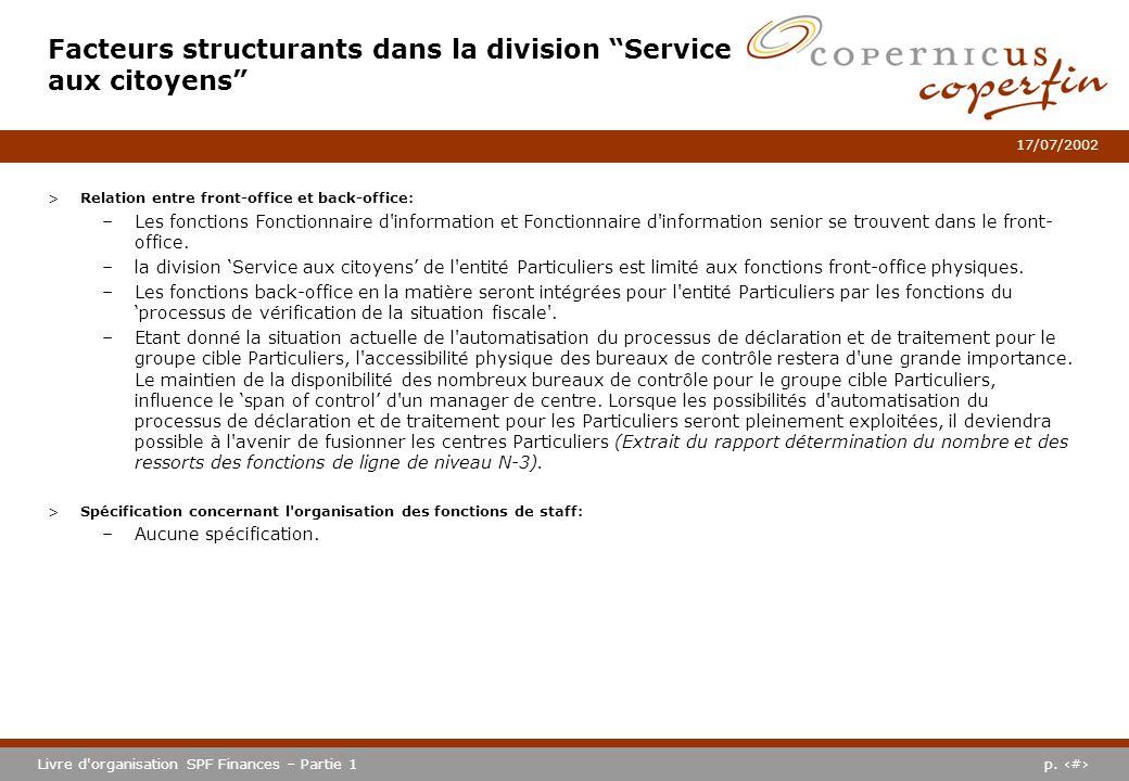p. #Livre d'organisation SPF Finances – Partie 1 17/07/2002 >Relation entre front-office et back-office: –Les fonctions Fonctionnaire d'information et