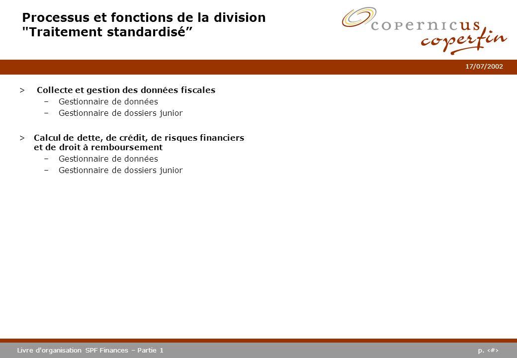 p. #Livre d'organisation SPF Finances – Partie 1 17/07/2002 Processus et fonctions de la division
